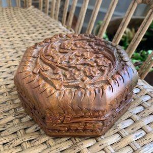 Vintage ornate wooden trinket box